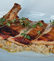 Pan Roasted Free Range Chicken Breast with Organic Brown Rice Roasted Pear & Peach Pilaf