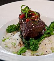 Slow braised beef short rib with Hoisin demi and California Koshihikari Rice