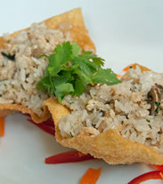 CHICKEN AND RICE WON TON CUPS
