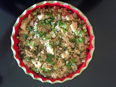 California Brown Rice Salad with Pineapple, Apple, Pistachios and Golden Raisins