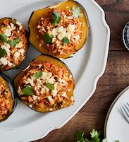 Chicken Curry and Calrose Rice Stuffed Acorn Squash